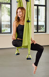 Young woman anti-gravity aerial yoga portrait Stock Photography