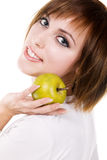 Young woman with an apple Stock Images