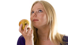 Young woman with apple Royalty Free Stock Photo