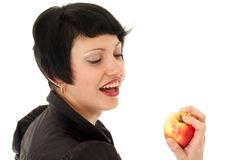 Young woman with apple Stock Photos