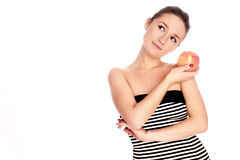 Young woman with apple Stock Photo