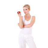 Young woman and apple Stock Image