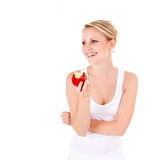 Young woman and apple Royalty Free Stock Photography