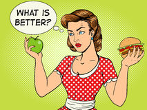 Young woman with apple and burger pop art vector Stock Photography