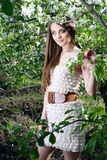 Young woman in the apple garden Stock Images