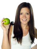 Young woman with apple, isolated Stock Photos