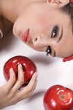 Young woman with apples Royalty Free Stock Images