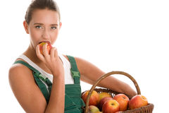Woman holding basket of apples Royalty Free Stock Photography