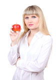 Young woman with apples Royalty Free Stock Photos