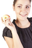Young woman with apples showing hand ok Royalty Free Stock Photo