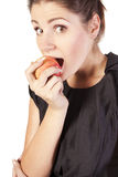 Young woman with apples showing hand ok Stock Image