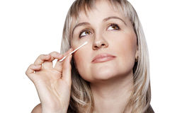Young woman with an applicator Stock Image