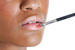 Young woman applying a lip brush Stock Photography