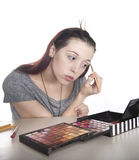 Young Woman Applying Make Up Stock Photo