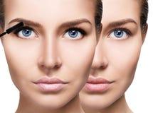Woman applying mascara on eyelashes with brush. Young woman before and after applying mascara on eyelashes Royalty Free Stock Images