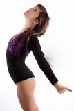 Young Woman Arching in Black Leotard Royalty Free Stock Photos