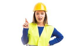 Young woman architect having great idea royalty free stock photo