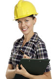 Young woman architect with helmet Stock Image