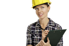 Young woman architect with helmet Stock Images