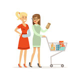 Young woman with arm in a plaster shopping with his female friend or volunteer, healthcare assistance and accessibility. Colorful vector Illustration on a white Stock Photo