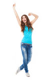 Young woman with arms raised Royalty Free Stock Photography