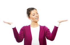 Young woman with arms raised up Royalty Free Stock Image