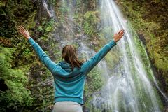 Young woman with arms wide open standing near waterfall Stock Image