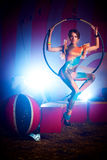 Young woman artist. Young slim woman circus artist Stock Images
