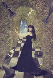 Young Woman As Black Chess Queen