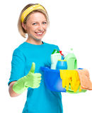 Young woman as a cleaning maid Royalty Free Stock Photography