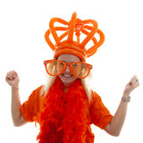 Young woman as Dutch orange supporter with crown Stock Photos