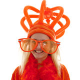 Young woman as Dutch orange supporter with crown Royalty Free Stock Image