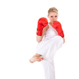 Young woman as fighter royalty free stock photography