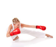 Young woman as fighter Royalty Free Stock Image