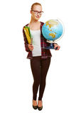 Young woman as geography teacher Stock Photo