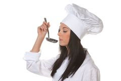 Young woman as a trainee chef from schmeckt Stock Photo
