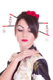 Young woman in Asian costume Royalty Free Stock Photos