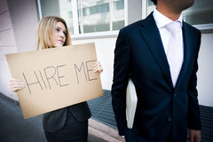 Young woman asking for a job royalty free stock images