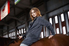 Young woman astride a horse. Beautiful girl in hat on horse.beauty young woman astride a horse Stock Photo