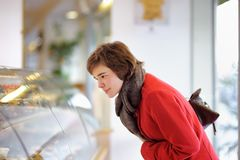 Young Woman At The In Bakery Stock Photography