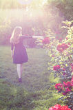 Young woman with auburn hair walking near rose bushes Royalty Free Stock Photo