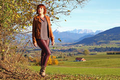 Young woman in autumn stock photos