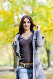 Young woman at autumn forest Royalty Free Stock Image