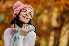 Young woman in the autumn forest Stock Photo