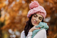 Young woman at autumn forest Royalty Free Stock Photography