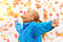 Young woman in autumn. Young, happy woman in autumn leaves stock photos