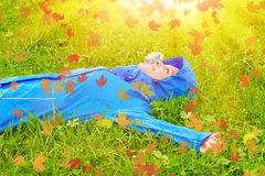 Young woman in autumn stock image