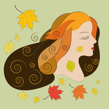 Young woman with autumn leaves, flat vector illustration. The spirit of autumn: young woman, painted in the autumn colors, surrounded by falling leaves. Art Stock Photography