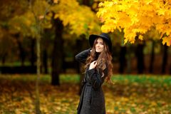 Young woman with autumn leaves in hand and fall yellow maple gar. Den background Stock Image