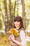 Young woman with autumn leaves in hand and fall yellow maple garden background Royalty Free Stock Image